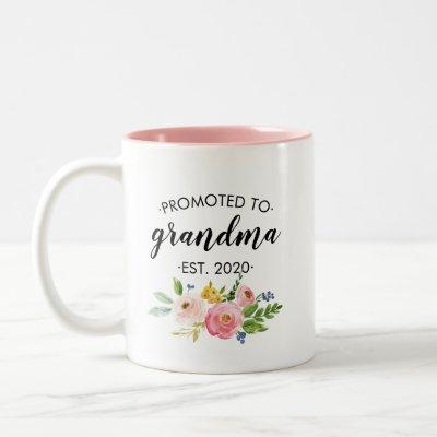 Promoted to Grandma Floral Pink Personalized Two-Tone Coffee Mug