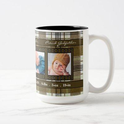 Proud New Godfather 4 Photo Plaid in Brown Two-Tone Coffee Mug