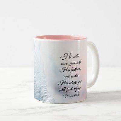 Psalm 91:4 He will cover you with His Feathers Two-Tone Coffee Mug