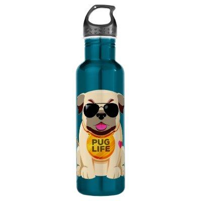 Pug Life custom name water bottles