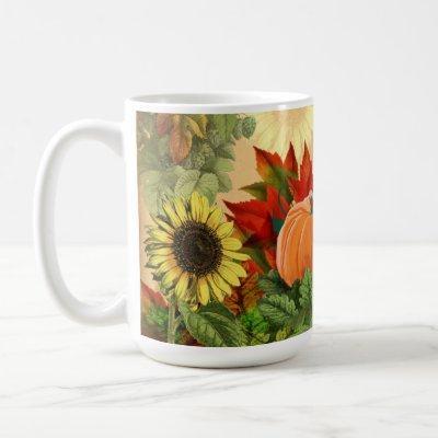 Pumpkin Autumn Fall Sunflower Coffee Mug