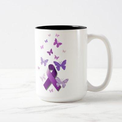 Purple Awareness Ribbon Two-Tone Coffee Mug