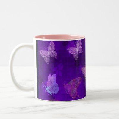 Purple Butterfly Art Two-Tone Coffee Mug