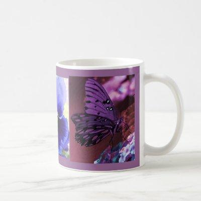 Purple Butterfly Floral Collage Coffee Mug