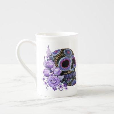 Purple Floral Black Sugar Skull Day Of The Dead Bone China Mug
