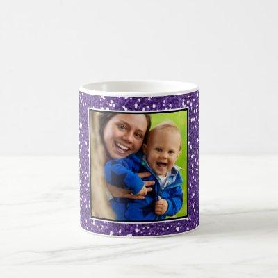 Purple  Glitter Custom Photo Coffee Mug