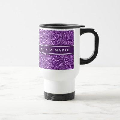 Purple Glitter (faux) Personalized Name Travel Mug