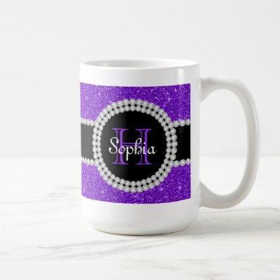 Purple Glitter Monogrammed Coffee Mug