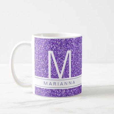 Purple Glitter Sparkle Monogram Custom Name Coffee Mug