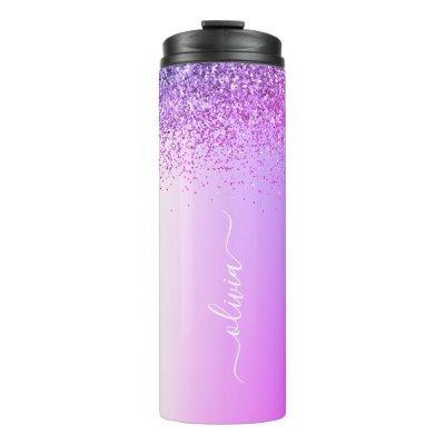 Purple Monogram Glitter Sparkle Girly Script Thermal Tumbler