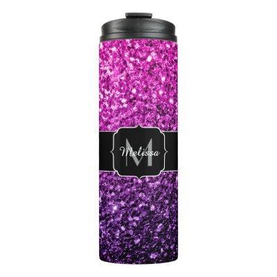 Purple Pink Ombre glitter sparkles Monogram Thermal Tumbler