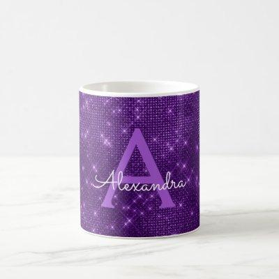 Purple Sparkle Shimmer Monogram Name & Initial Coffee Mug