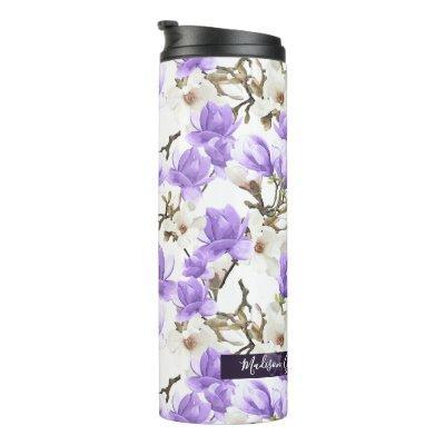 Purple & White Magnolia Blossom Watercolor Pattern Thermal Tumbler