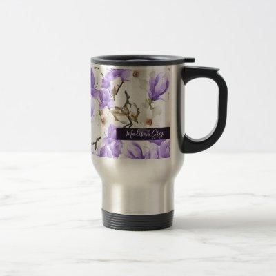 Purple & White Magnolia Blossom Watercolor Pattern Travel Mug