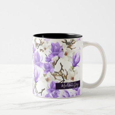 Purple & White Magnolia Blossom Watercolor Pattern Two-Tone Coffee Mug