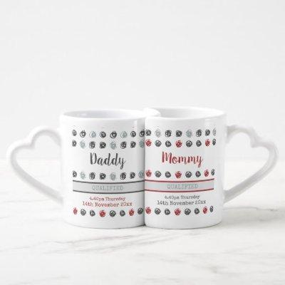 Qualified New Parents - Contemporary Personalized Coffee Mug Set