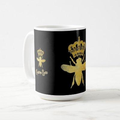QUEEN BEE Gold Black and White Mug
