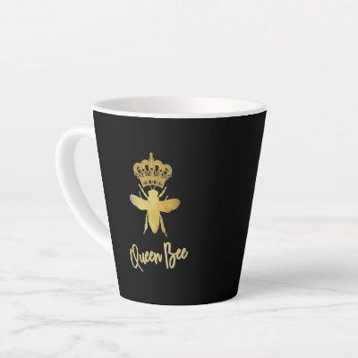 QUEEN BEE Gold Black Latte Mug