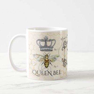 Queen Bee Mom Quote Honeycomb Monogram Coffee Mug