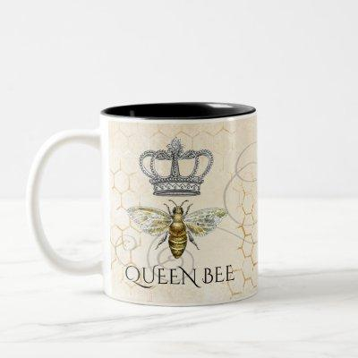 Queen Bee Royal Crown Honeycomb Two-Tone Coffee Mug