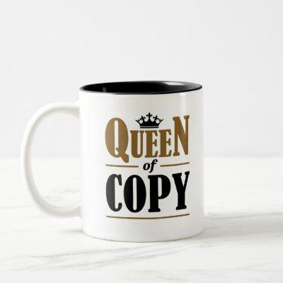 Queen of Copy Journalist Reporter Two-Tone Coffee Mug