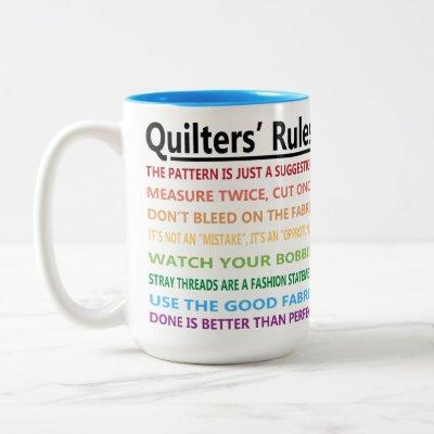 Quilters' Rules Two-Tone Coffee Mug