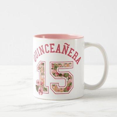 Quinceanera 15 Athletic Pink Floral Two-Tone Coffee Mug