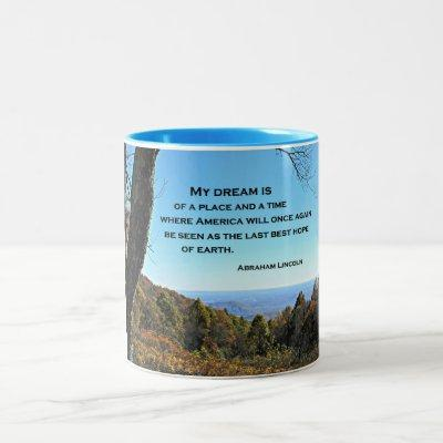 Quote about America by Abraham Lincoln Two-Tone Coffee Mug