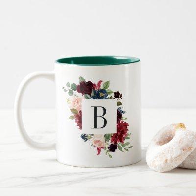 Radiant Bloom Monogram Two-Tone Coffee Mug
