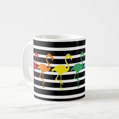 Rainbow Flamingo Silhouettes and B&W Stripes Coffee Mug