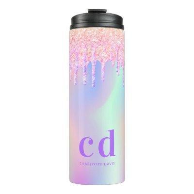 Rainbow glitter drips pink holographic monogram thermal tumbler