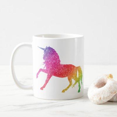 Rainbow Glitter Sparkle Unicorn Mug
