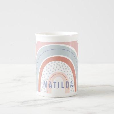 Rainbow heart pink purple personalized bone china mug