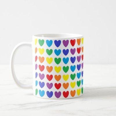 Rainbow Hearts Coffee Mug
