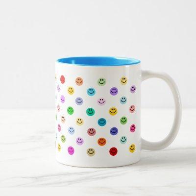 Rainbow Multicolor Face Pattern Two-Tone Coffee Mug