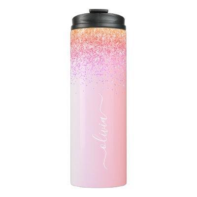Rainbow Pastel Girly Glitter Metal Monogram Name Thermal Tumbler