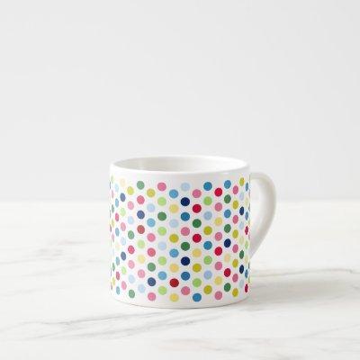 Rainbow polka dots espresso cup