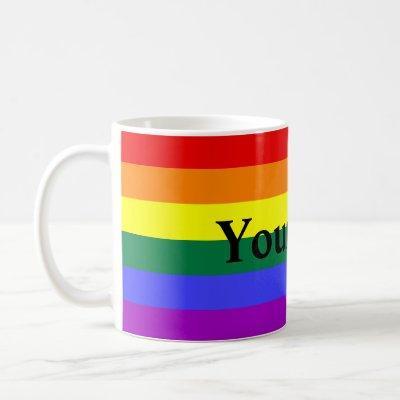 Rainbow Stripe with Custom Text Coffee Mug
