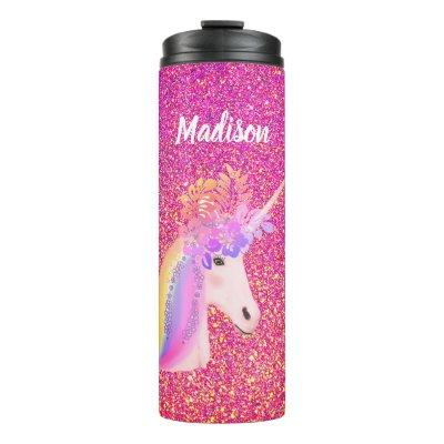 Rainbow Unicorn Pink Gold Glitter Floral Name Thermal Tumbler