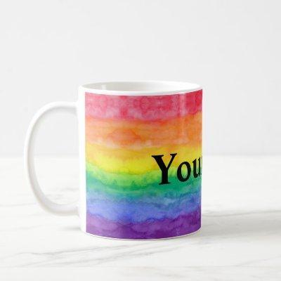 Rainbow Wash with Custom Text Coffee Mug
