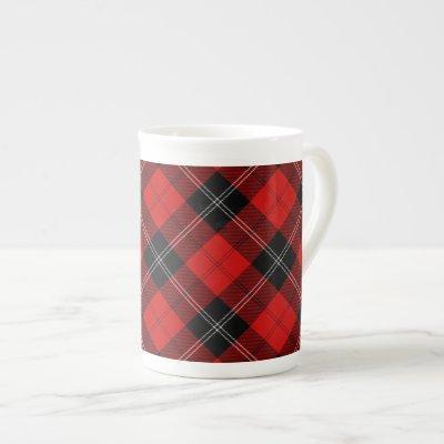 Ramsay tartan red black plaid bone china mug