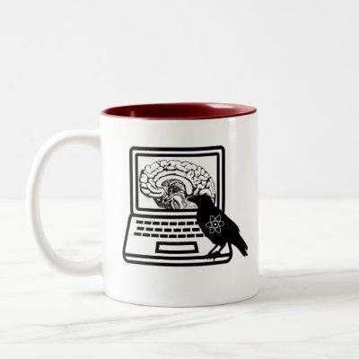 Raven Atom Brain Laptop Two Tone Coffee Mug