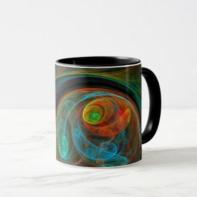 Rebirth Blue Abstract Coffee Mug