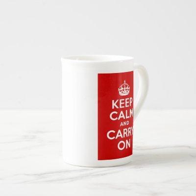 Red and White Keep Calm and Carry On Bone China Mug