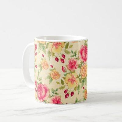 Red and Yellow Roses vintage Floral Flower Pattern Coffee Mug