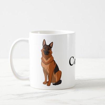 Red & Black German Shepherd GSD Coffee Mug