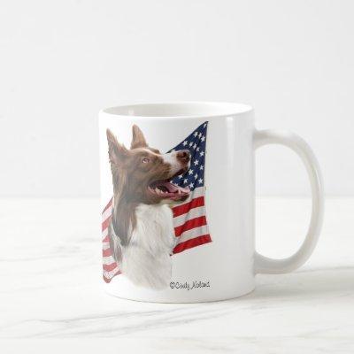 Red Border Collie head and Flag Coffee Mug
