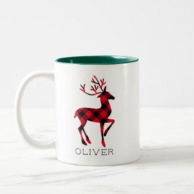 Red Buffalo Plaid Reindeer Christmas Monogram Two-Tone Coffee Mug