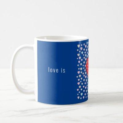 red heart with speckels pattern coffee mug