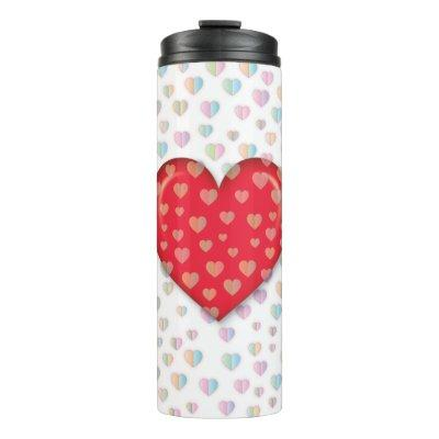 red heart with speckels pattern thermal tumbler